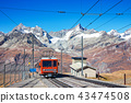 red train on rail to Matterhorn Zermatt Swiss 43474508