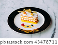 Millefeuilles French puff pastry on elegant plate 43478711