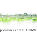 Abstract tree and field landscape on watercolor 43480694