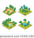 Green City Park Concept Set 3d Isometric View. Vector 43481180