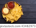 Crispy chips nachos with tomato and cheese sauce 43482973