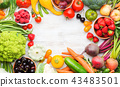 Summer fruits vegetables on table 43483501