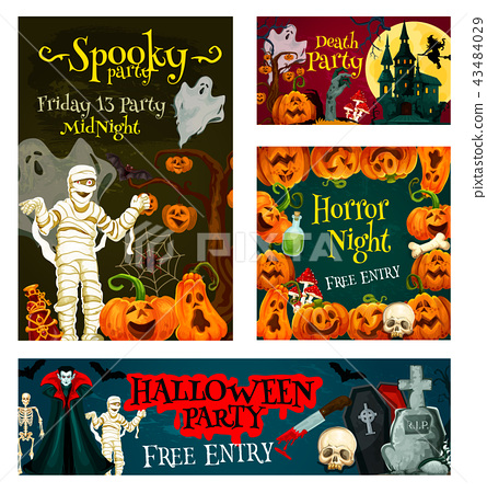 Halloween trick treat party vector poster banner 43484029