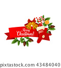 Christmas or New Year winter holiday ribbon banner 43484040