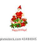 Santa with Christmas gift winter holidays card 43484045