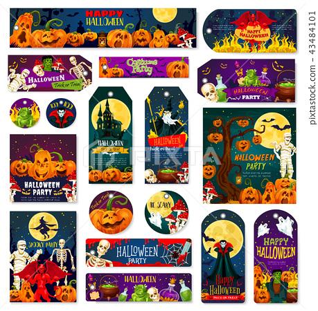 Halloween night trick or treat celebration tag 43484101