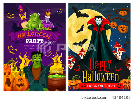 Halloween greeting banner with zombie and vampire 43484106