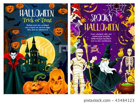 Halloween trick or treat night celebration banner 43484123