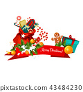 Santa bag with Christmas gift festive icon design 43484230