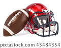 American football helmet and ball, 3D rendering 43484354