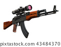 Assault rifle with telescopic sight, 3D rendering 43484370
