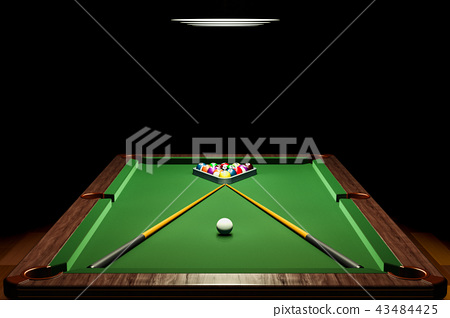 Billiard table with balls and cue in room closeup 43484425