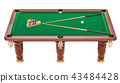 Billiard table with balls and cue, 3D rendering 43484428