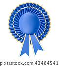 Blue winning award, prize, medal or badge 43484541