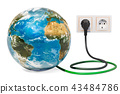 Earth Globe with power plug into electrical socket 43484786