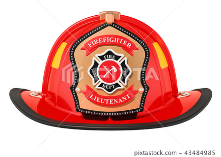 Firefighter Helmet closeup, 3D rendering 43484985
