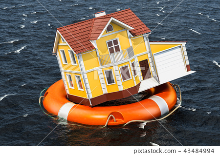 Flood insurance concept. Home inside lifebuoy 43484994