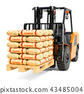 Forklift truck with cement bags, 3D rendering 43485004