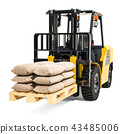 Forklift truck with sacks, 3D rendering 43485006