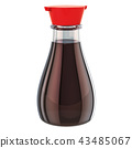 Glass bottle of soy sauce, 3D rendering 43485067