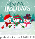 happy snowmen illustration 43485110