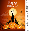 Happy Halloween night background with dark castle and pumpkins, Vector illustration. 43485162