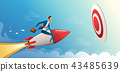 Businessman flying forward with a rocket engine to big target. Business vector concept illustration 43485639
