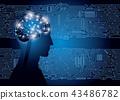 大腦和集成電路的圖像 43486782