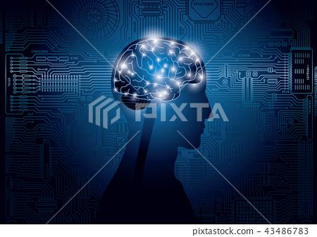 뇌와 집적 회로의 이미지 43486783