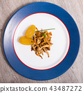 Cooked fried honey fungus mushrooms with baby-potatoes 43487272