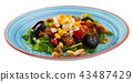 Arugula salad with vegetables, cheese, walnuts 43487429