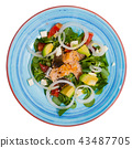 Deliciously salad of fried trout with avocado, grapefruit and corn salad 43487705