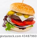 Hamburger is tasty dish on the plate 43487960