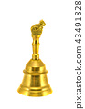 new ornamental asian brass hand bell isolated 43491828