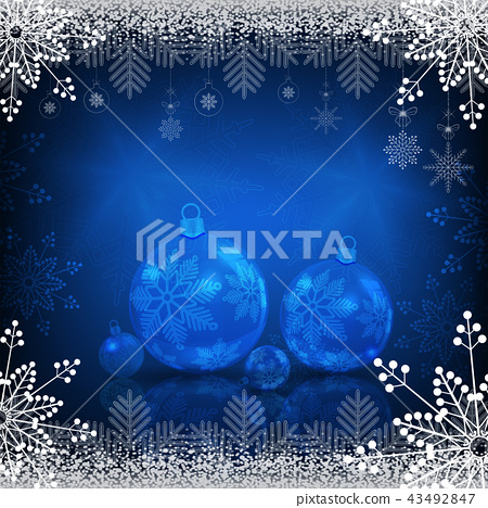 Background with snowflakes and christmas balls with mirror reflection 43492847