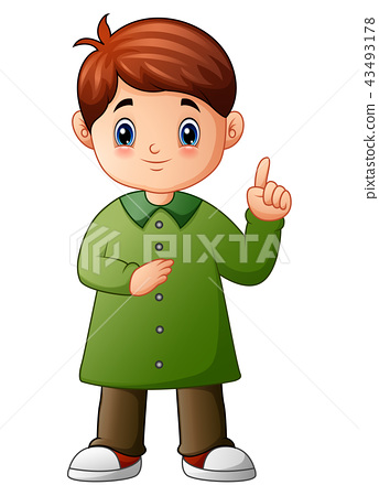 Little boy pointing up his finger 43493178
