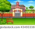 學校建築 青草 草地 43493336