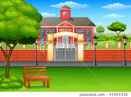 School building and green lawn 43493336