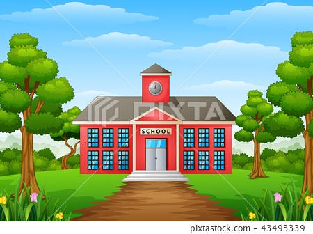 Cartoon school building with green yard 43493339