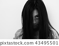 Black and white girl in Zombie, halloween concept, 43495501