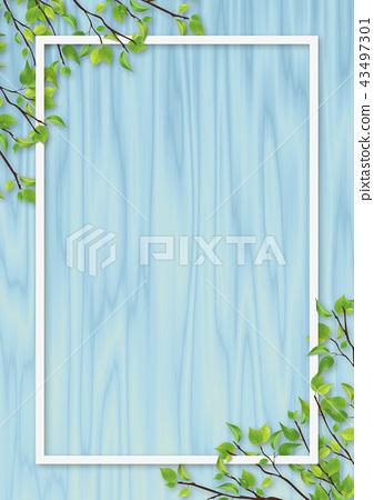 신록 잎 흰색 프레임 파란색 우드 43497301