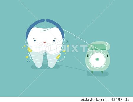 Tooth using dental floss for white teeth, dental v 43497337