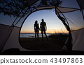 tent, couple, lake 43497863