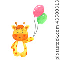 Giraffe holding balloon, Cartoon watercolor  43500313