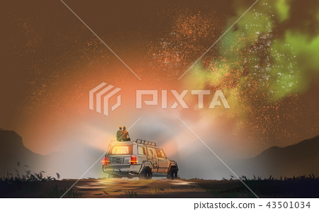 couple sitting on SUV car against milky way 43501034
