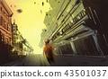 a boy walking in abandon town 43501037