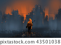 a warrior standing on many ruins against war  43501038
