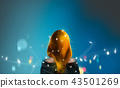 blonde red hair girl with Christmas lights 43501269