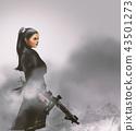 a beautiful girl with machine guns 43501273