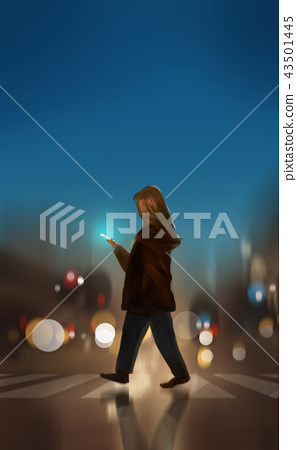 a woman crossing the road and using smartphone 43501445